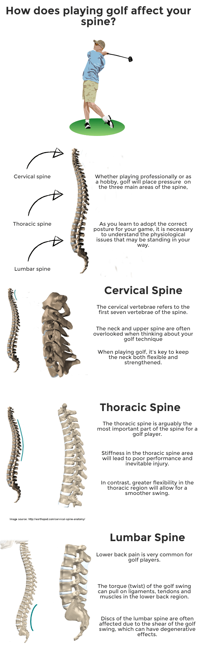 How does playing golf affect your spine