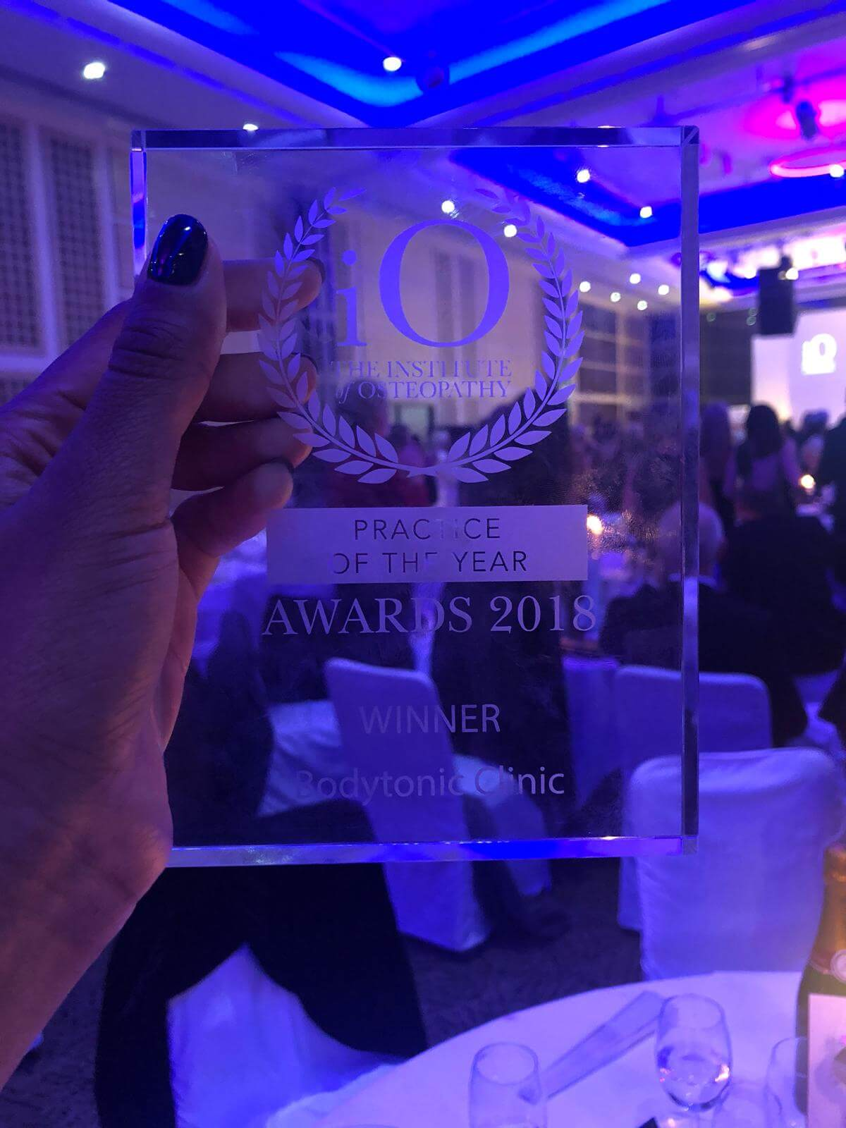 The award Winner of The Institute of Osteopathy Practice of the Year 2018